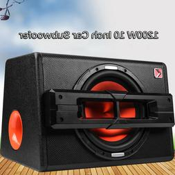 "10"" 1200W Car Active Boxed Subwoofer BASS HiFi Powered Ampli"
