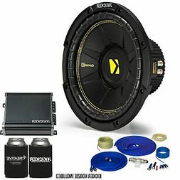 Kicker 10 Inch Bass Bundle - A 44CWCD104 Subwoofer with CXA4