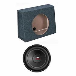 QPower 10 Inch Single Slim Shallow Subwoofer Box and Pyle 10