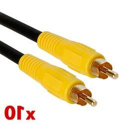 10pcs 3 FT RCA Digital Coax Coaxial Audio Video Cable Subwoo
