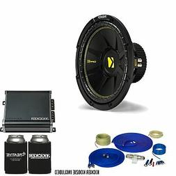 Kicker 12 Inch Bass Bundle - A 44CWCD124 Subwoofer with CXA4