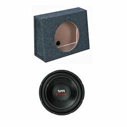 QPower 12 Inch Single Slim Shallow Subwoofer Box and Pyle 16