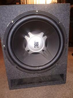 JBL 15 inch 300 watt 4 ohm car subwoofer in gray carpeted ca