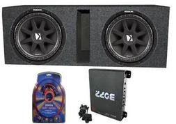 "2) Kicker 43C104 10"" 600 Watt Car Subwoofers + Box + 1100W A"