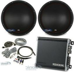 "2) MTX 5515-22 15"" 1600W DVC Car Audio Subwoofers+Kicker Amp"