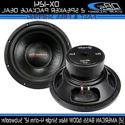 """2 American Bass DX-124 12"""" Subwoofer 1200W Max Single 4-ohm"""