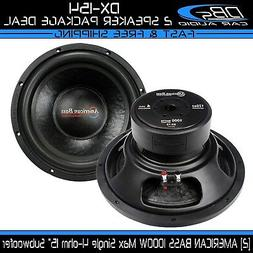 """2 American Bass DX-154 15"""" Subwoofer 2000W Max Single 4-ohm"""