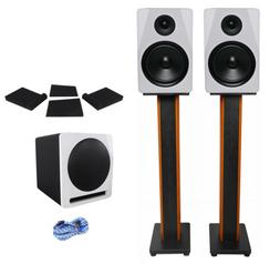 "Rockville APM8W 8"" Studio Monitors+Active 10"" Subwoofer+36"""