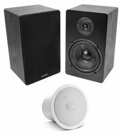 "Black 6.5"" Home Bookshelf Speakers w/Kevlar Woofers+JBL In-"