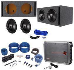 """2 Hifonics HFX12D4 12"""" 1600w Car Subwoofers+Vented Sub Box+M"""