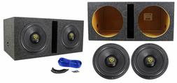 "Rockville W12K9D2 12"" 8000 Watt Car Subwoofers + Vented Sub"