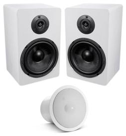 "White 6.5"" Home Bookshelf Speakers w/Kevlar Woofers+JBL In-"