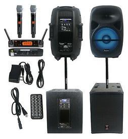 """STARAUDIO 2Pcs 15"""" 4500W Powered PA Wood Subwoofers DJ Speak"""