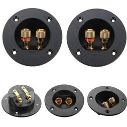 2x 2-Way Subwoofer Speaker Box Terminal Round Cup Connector