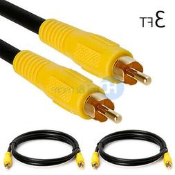 2x 3 FT Premium RCA Digital Coax Coaxial Audio Video Cable S