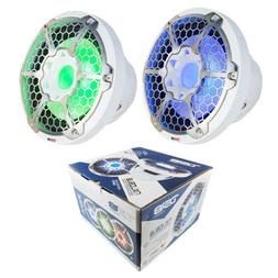 """2x Marine Subwoofers 10"""" White Power Sport RGB LED DS18 Hydr"""