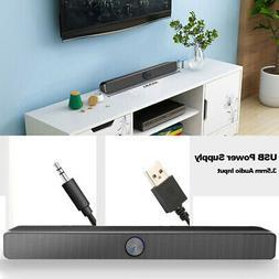 3.5mm AUX TV Computer Desk Wired Soundbar Subwoofer Stereo A