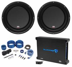 "MTX 3510-04S 10"" 1200 Watt Shallow Slim Subwoofers Subs+Amp"