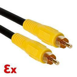 3pcs 3 FT RCA Digital Coax Coaxial Audio Video Cable Subwoof