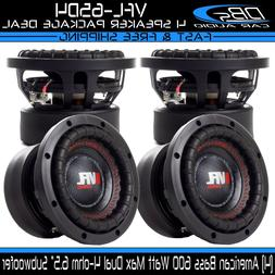 "4 American Bass 6.5"" Car Audio Subwoofer Speaker Dual 4-ohm"