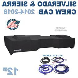 "4 Gauge Amp Kit + Chevy Silverado Crew-Cab 12"" Dual sub box"