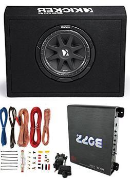 """Kicker New 10TC104 10"""" 300W Subwoofer + Sub Box + Boss R1100"""