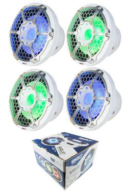 """4x Marine Subwoofers 10"""" White Power Sport RGB LED DS18 Hydr"""