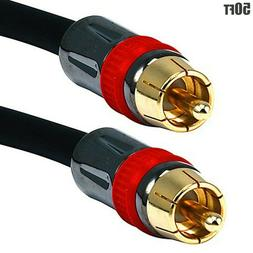 50ft Premium RCA Male to Male M/M Gold Plated A/V Audio Vide