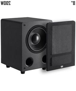 "8"" 200W Premium Home Theater Audio Subwoofer Powered Black 8"