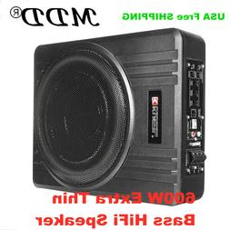 8'' 600W ULTRA THIN Under-Seat Car Active Subwoofer Amplifie