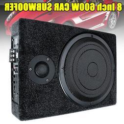 "8"" 600W Watt Active Under-Seat Car Enclosure Subwoofer Ste"