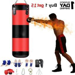 47'' Heavy Boxing Punching Bag Training Gloves Speed Kicking