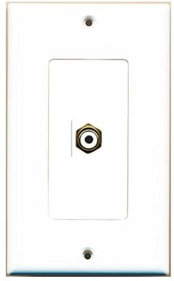 RiteAV - 1 RCA White for Subwoofer Audio Port Wall Plate Dec