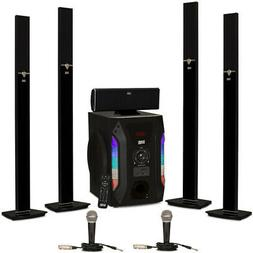 Acoustic Audio AAT1003 Tower 5.1 Speaker System with 2 Mics
