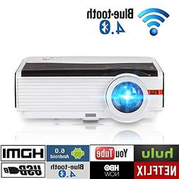 """200"""" LCD LED HD Android6.0 Projector WiFi Bluetooth 4200 Lum"""
