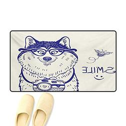 Bath Mat,Cartoon Style Smart Puppy with Glasses Photo Camera