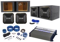 "Hifonics BRZ12SQD4 12"" 2400w Car Subwoofers+Vented Box+BXX"