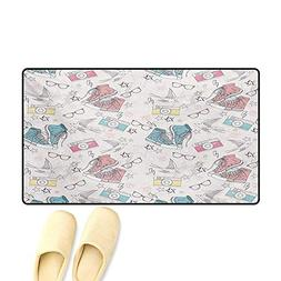 Door Mats,Grunge Patterns Shoes Photo Camera Glasses Stars T