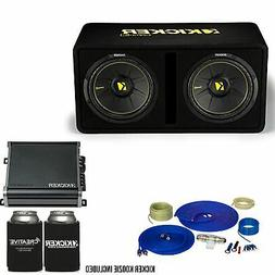 Kicker Dual 12 Inch Comp Bass Package 44DCWC122 with CXA8001