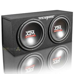 "MTX Dual 12"" Loaded Subwoofer Enclosure Sealed 2 Ohm Termina"