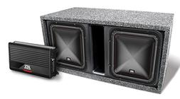 "MTX Dual 10"" Square Subwoofer, Amplifier, and Enclosure Pack"