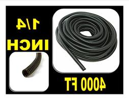 "4000' Feet 1/4"" Black Split Loom Flexible Tubing Wire Cover"