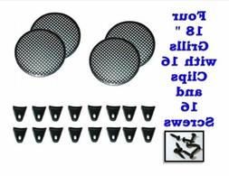 """FOUR 18"""" INCH WAFFLE SPEAKER SUB WOOFER GRILLS WITH CLIPS AN"""