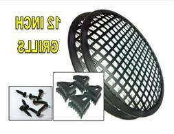 """SPEAKER GRILLS 2 Pieces 12"""" INCH GRILL WAFFLE  SUB WOOFER CL"""