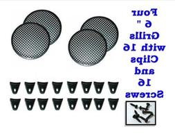 """6"""" INCH GRILL WAFFLE SPEAKER SUB WOOFER WITH CLIPS AND SCRE"""