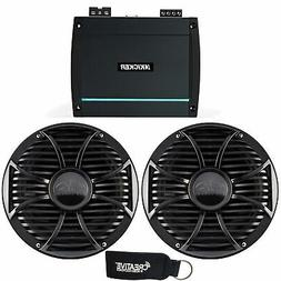 """Kicker 44KXMA4002 Amp with Two Black 10"""" Wet Sounds Free Air"""