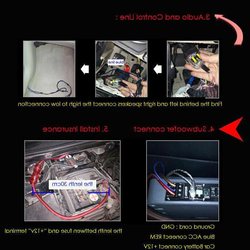 8'' Car Under-Seat Subwoofers Amplifier Bass HiFi Slim Speaker Wire