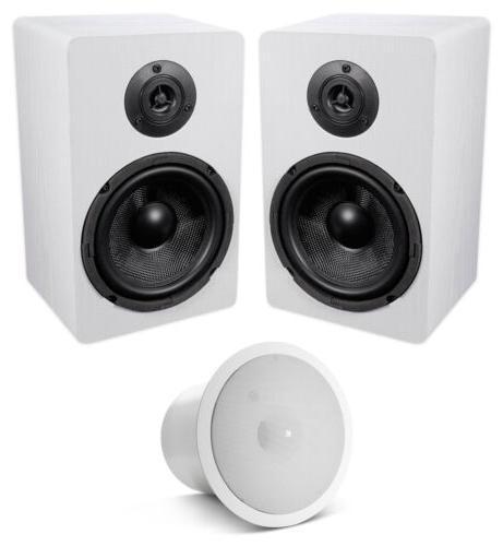 2 white 6 5 home bookshelf speakers
