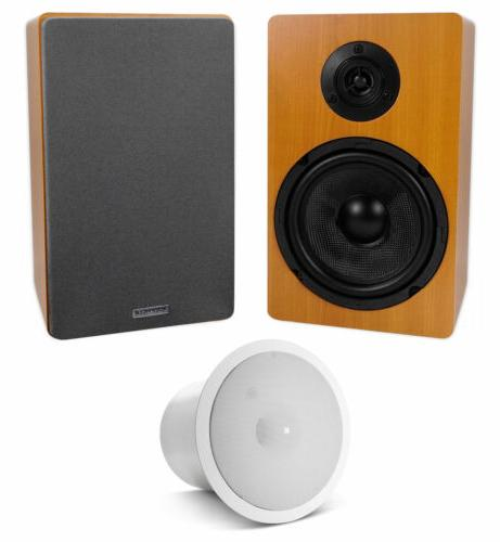 2 wood 6 5 home bookshelf speakers