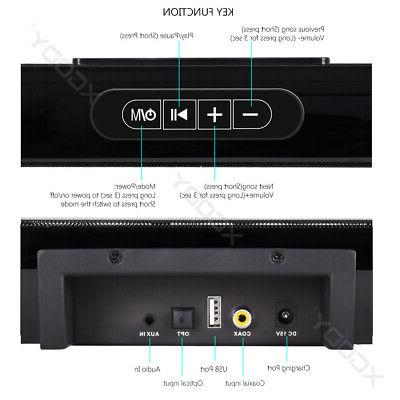 40W Home Surround TV Sound Wireless Soundbar w/ Built-in Subwoofer